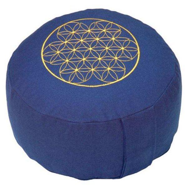 Meditationskissen RONDO BASIC - Blume des Lebens dunkelblau   Dinkel