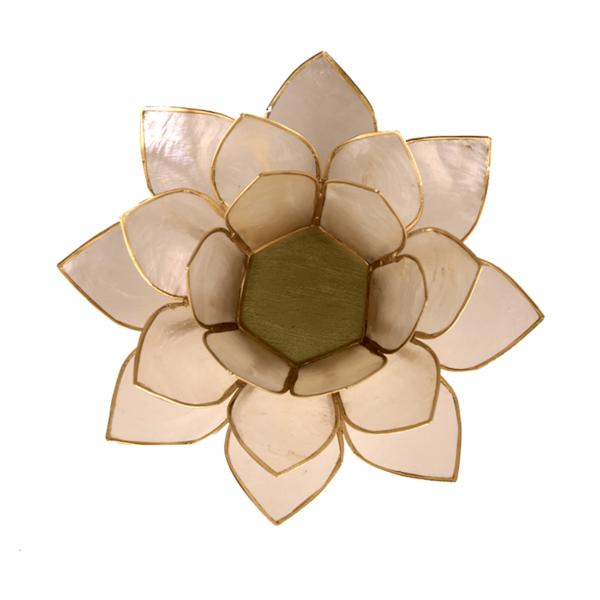 Lotus Teelichthalter weiß