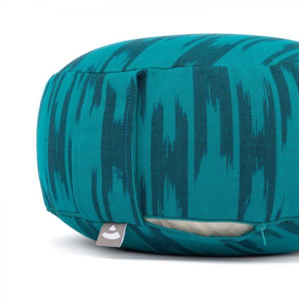 Meditationskissen RONDO | ETHNO Collection | Ikat-Webstoff, blau-grün gemustert