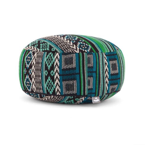 Meditationskissen RONDO | ETHNO Collection | Jacquard-Webstoff, schwarz-weiß-grün gemustert Mit abnehmbarem bezug aus 100% Baumwolle