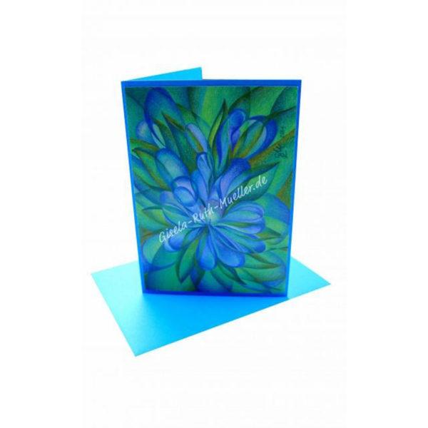Blaue Blüte - Doppelkarte