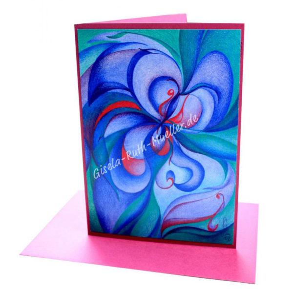 Blaue Entfaltung - Doppelkarte