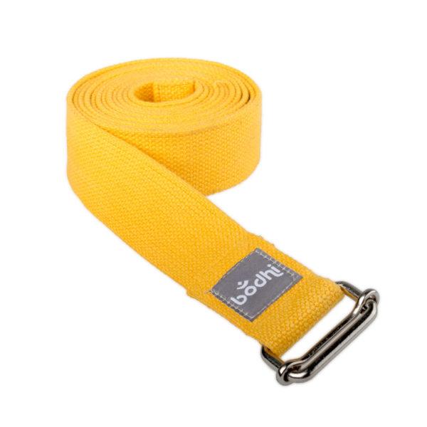 Yogagurt ASANA BELT, mit Schiebeschnalle safran Kräftiger breiter Baumwollgurt, 2,5m / 38mm