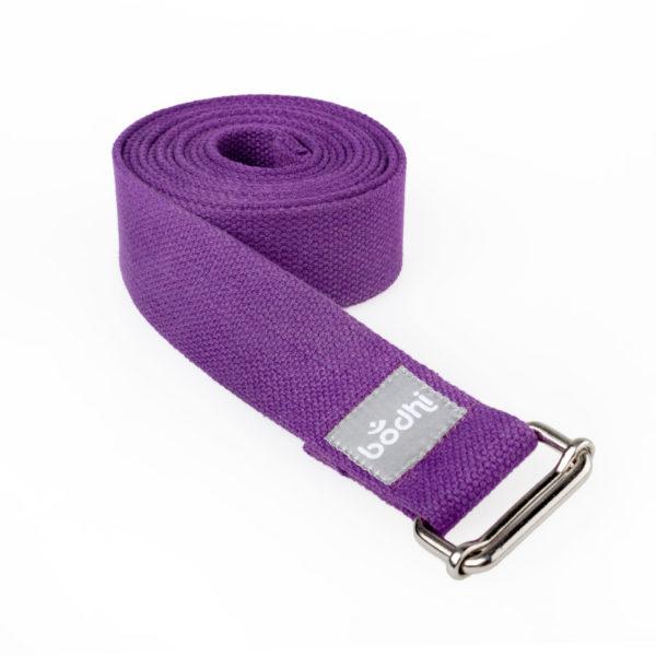 Yogagurt ASANA BELT, mit Schiebeschnalle lila Kräftiger breiter Baumwollgurt, 2,5m / 38mm