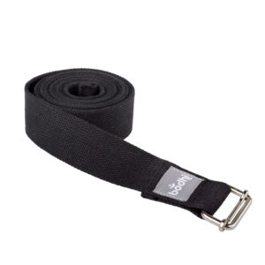 Yogagurt ASANA BELT, mit Schiebeschnalle schwarz Kräftiger breiter Baumwollgurt, 2,5m / 38mm