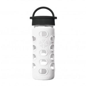 Lifefactory 350ml Glas-Trinkflasche mit Classic Cap, arctic white