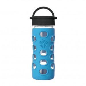 Lifefactory 350ml Glas-Trinkflasche mit Classic Cap, cobalt blue
