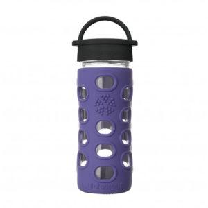 Lifefactory 350ml Glas-Trinkflasche mit Classic Cap, iris