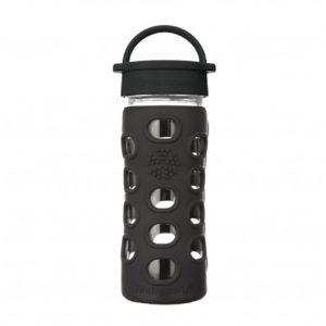 Lifefactory 350ml Glas-Trinkflasche mit Classic Cap, onyx