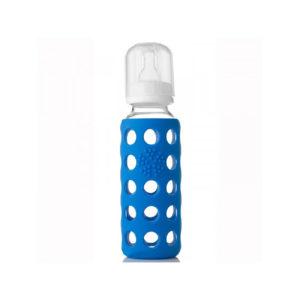 Lifefactory Glas-Babyflasche, 250 ml inkl. Sauger Größe 2, cobalt blue