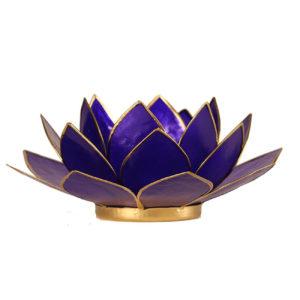 Lotus Teelichthalter indigo 6. Chakra goldfarbig