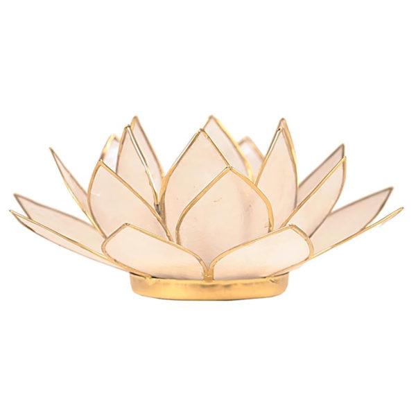 Lotus Teelichthalter natur goldfarbig