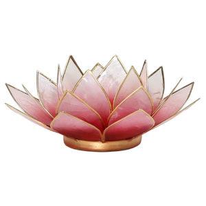 Lotus Teelichthalter rot rosa goldfarbig