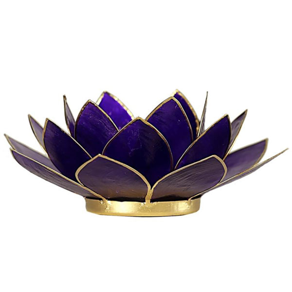 Lotus Teelichthalter violett 7. Chakra goldfarbig