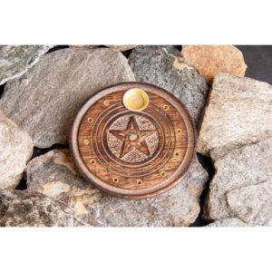 Stäbchen- und Kegelhalter Pentagramm aus Holz, Ø 10 cm