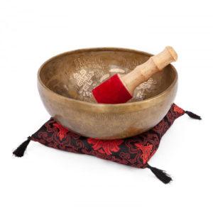 """Tibetische Klangschale """"Singing Bowl"""" mit 5 BUDDHAS Gravur von bodhi"""