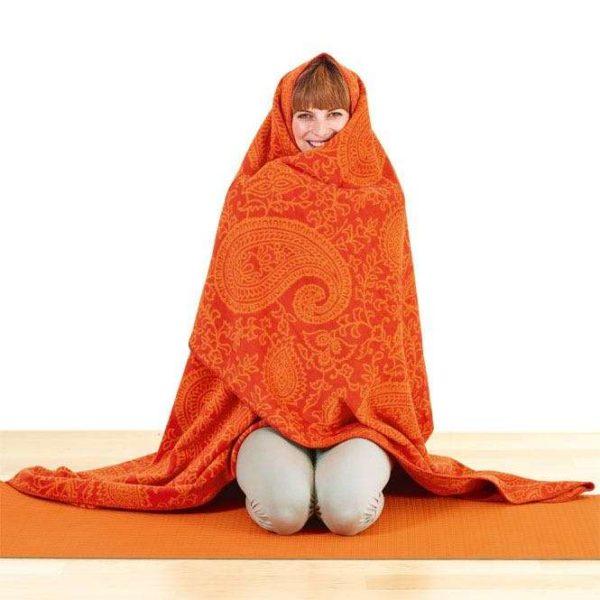 PAISLEY KUSCHELDECKE orange Yogadecke, 150 x 200 cm