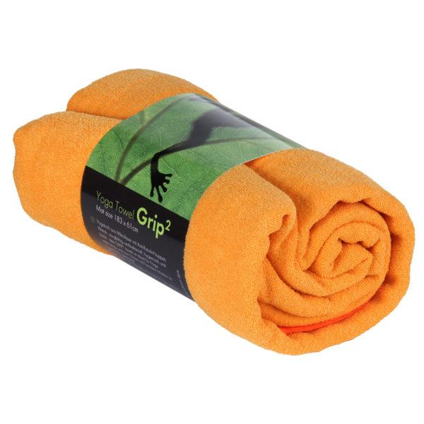 Yogatuch GRIP ² Yoga Towel mit Antirutschnoppen safran orange Mit Antirutschnoppen