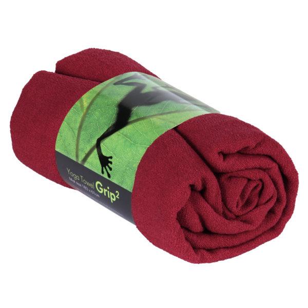 Yogatuch GRIP ² Yoga Towel mit Antirutschnoppen weinrot Mit Antirutschnoppen